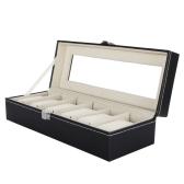 6 Grid Leather Watch Display Case Jewelry Collection Storage Organizer Box Holder