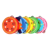 6inch Hand Held Tambourine Drum Bell Metal Jingles Cartoon Pattern Colorful Wooden Percussion Musical Toy for KTV Party Kids Games