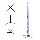 Western Concert Flute Tripod Holder Stand with 4 Metal Legs Detachable Portable Foldable