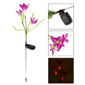 Outdoor Water Resistant Landscape Light Powerfrugal Solar Power Ni-MH Battery Color Changing 3 LED Lily Flower Lamps for Garden House Decoration