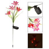 Outdoor Water Resistant Landscape Light Powerfrugal Solar Power Ni-MH Battery Color Changing 4 LED Lily Flower Lamps for Garden House Decoration