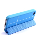 Magnetic Adsorption Smart Protective Stand Case Cover for iPhone 4 4S Multi-function Holder Headphone Bobbin Winder Blue