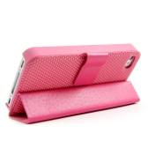 Magnetic Adsorption Folio Smart Flip Case Skin Stand Cover for iPhone 4 4S Multifunctional Holder Headphone Bobbin Winder Pink