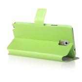 ファッション財布ケース フリップ レザー スタンド カバー N9000 三星銀河注 3 グリーン カード ホルダー付き