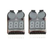 2Pcs 1-8S Indicator RC Li-ion Lipo Battery Tester Low Voltage Buzzer Alarm