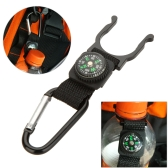 Outdoor Camping Hiking Traveling Hook Carabiner Compass Water Bottle Buckle Holder Clip