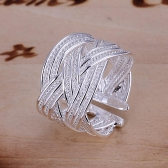New Design Silver-Plated Smooth Small Cross Mesh Opening Ring Fine Fashion Women Girl Jewelry for Party Wedding