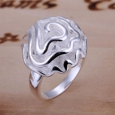 Fashion Elegant Silver-Plated Beautiful Rose Flower Wedding Party Ring #8 Women Girl Fine Jewelry Christmas Gift