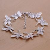 Beautiful Silver-Plated Wedding Bracelet Jewelry Eight Dragonfly Fine Fashion Women Charm Chain Christmas Gift