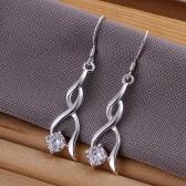 Exquisite Elegant Shining CZ Diamond Twist Dangle Earring Fashion Flash Wedding Party Jewelry for Women