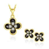 New Fashion Rhinestone Flower Pendant Necklace & Stud Earring Gold-Electroplated Fine Women Girl Jewelry Set Summer Style for Party