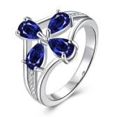 Blue Drop CZ Diamond Brass Lady
