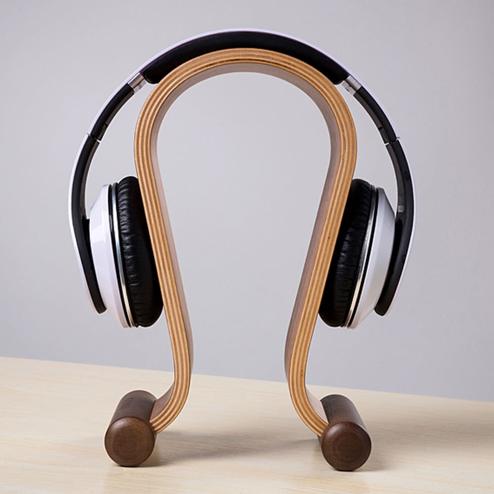 Wooden Walnut Wood Omega Headphone Gaming Headset Display Stand Holder Hanger