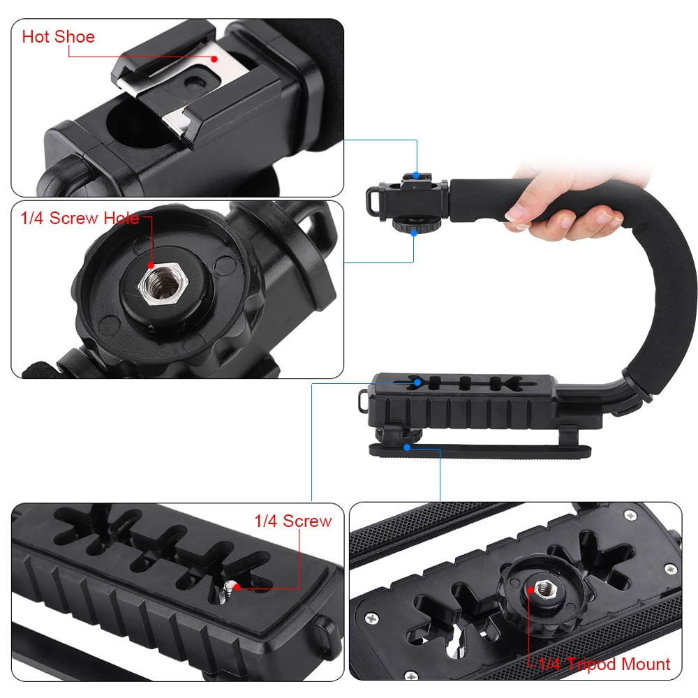 U/C Shaped Flash Bracket Holder Handle Hanheld Action Stabilizer Grip for Canon Nikon Sony Gopro SJCAM Xiaomi Yi Camera Camcorder Mini DV DSLR SLR