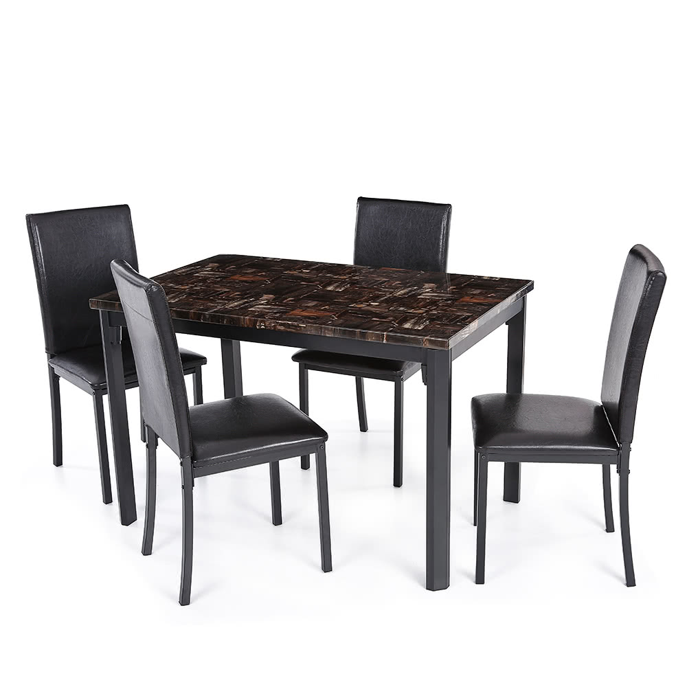 ikayaa 5pcs modern kitchen dining room table chair set for 4 person