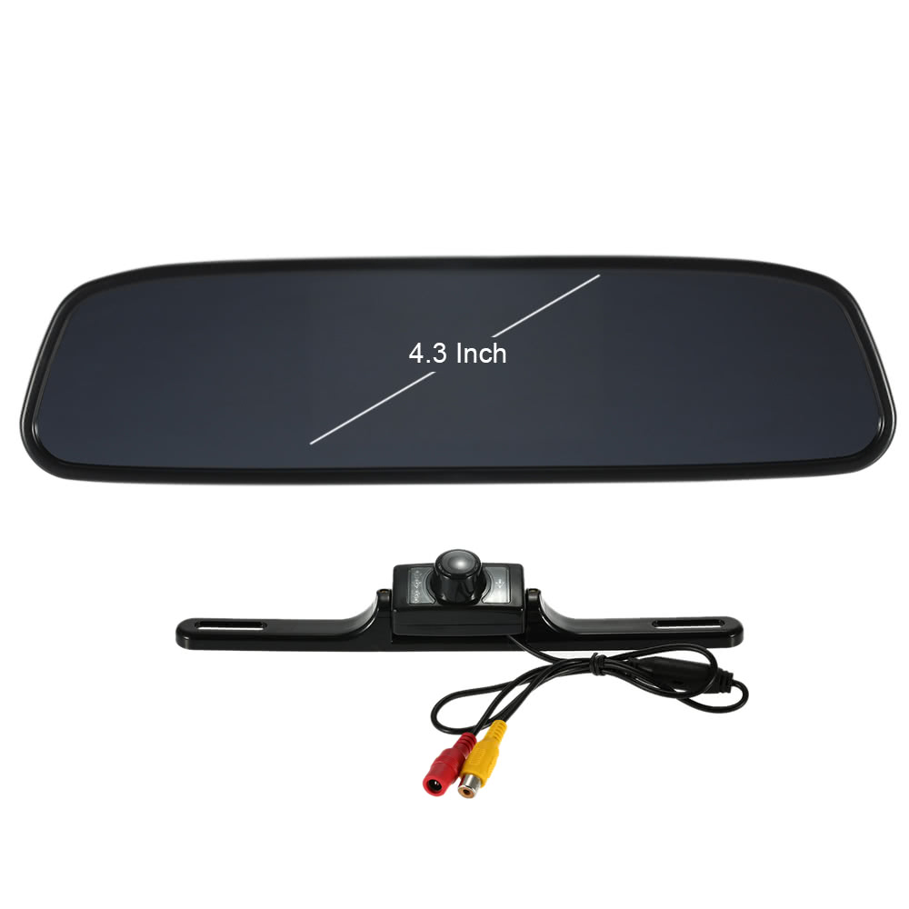 4.3 Inch TFT LCD Mirror Monitor Car Rear View Backup Reverse System + Night Vision Camera