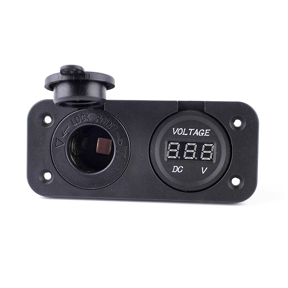 Motorcycle Car Cigarette Lighter Power Socket Plus Digital Voltmeter Set 12V with Cap Mounting Panel