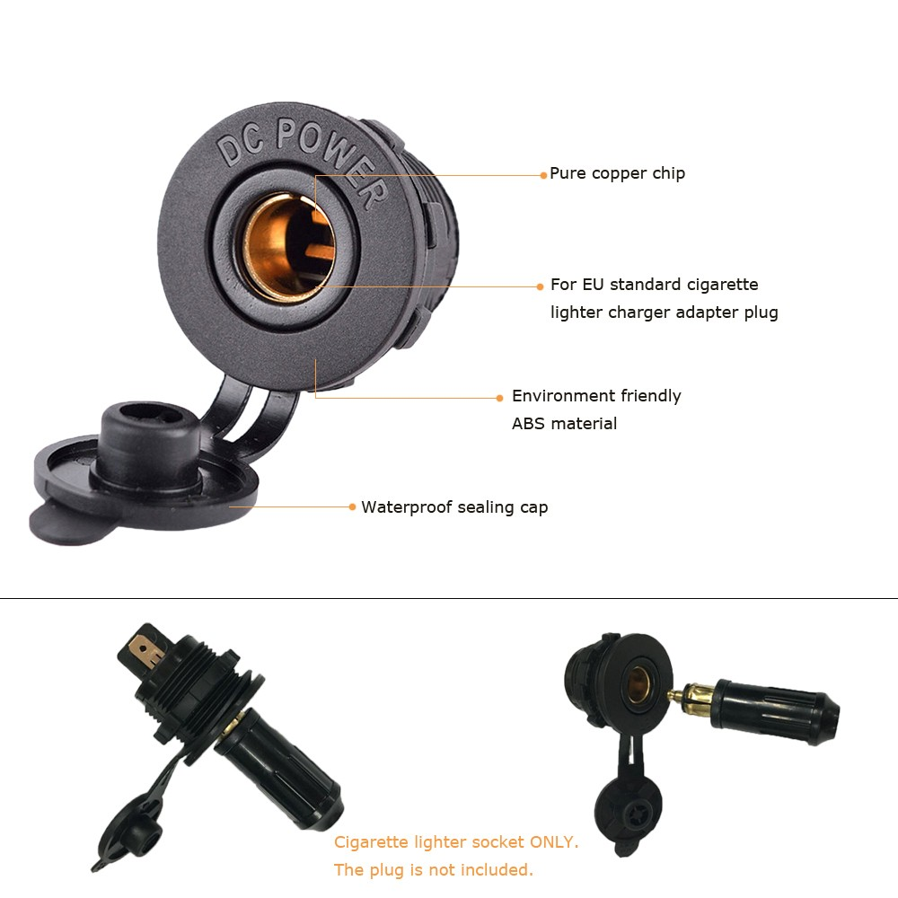 Universal Motorcycle Auto Refitting Cigarette Lighter EU standard Power Socket Copper Chip