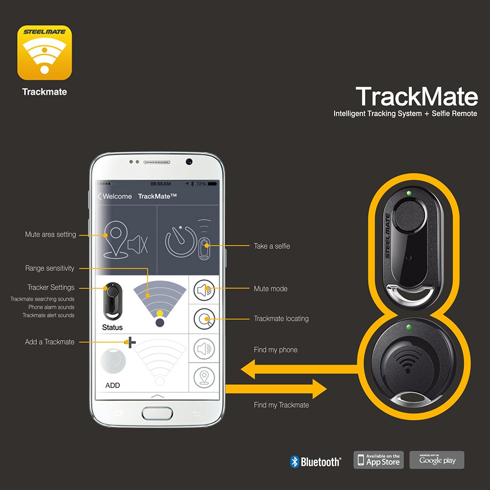 Steelmate i880 TrackMate Bluetooth 2-way Car Alarm System GPS Intelligent Tracking Anti-lost Tracker Selfie for IOS