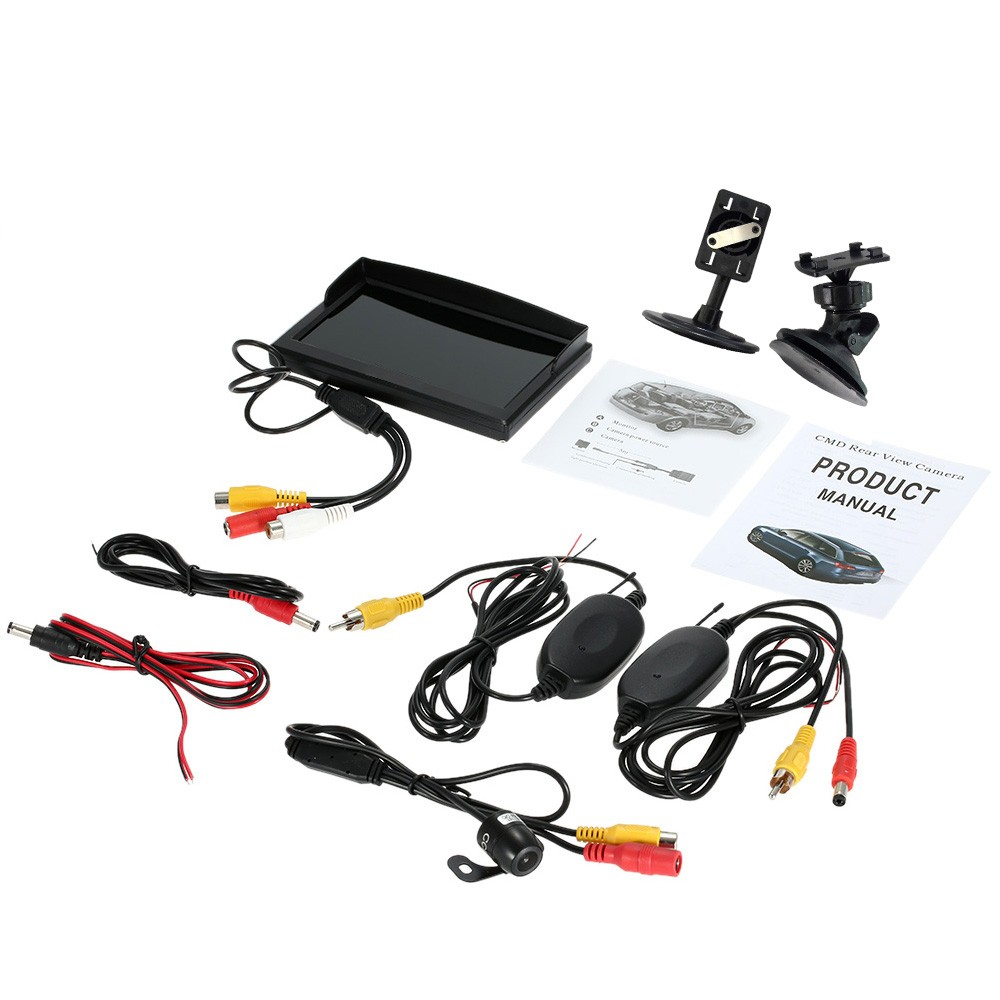Car Wireless Rear View Monitor 5 Inch TFT LCD Display with Suction Stand Reverse Back Up System + Mini Camera