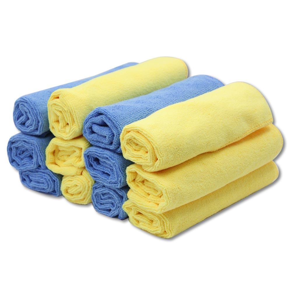 12PCS Microfiber Car Cleaning Towel Cloth Multifunctional Wash Washing Cloths 40*40cm Yellow & Blue