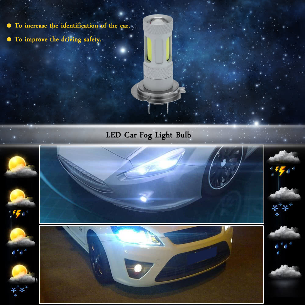 80W 900LM COB LED Car Fog Light Lamp Bulb Replacement for H7 Socket White