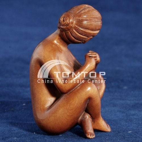 High Quality Hand Carving Boxwood Netsuke Wood Nude Woman