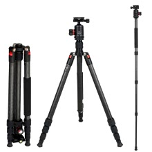 Marsace DT-1541 Carbon Fibre Tripod with Aircraft-Grade Aluminum DB-1 34mm Diameter Ballhead 360-degree Panoramic Universal QR Plate Kit for Nikon Canon Panasonic Sony Olympus Pentax DSLR Camera