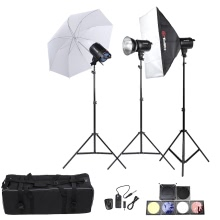 Tolifo Professional Photography Photo Studio Speedlite Lighting Lamp Kit Set with (3 * )300W Studio Flash Strobe Light Stand Softbox Soft Umbrella Cloth Lampshade Barn Door Trigger