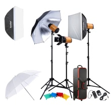 Godox Professional Photography Photo Studio Speedlite Lighting Lamp Kit Set with (3 * )300W Studio Flash Strobe Light Stand Softbox Reflector Soft Umbrella Barn Door Trigger