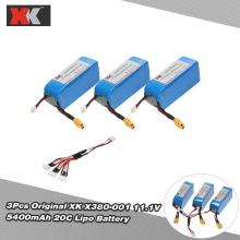 3Pcs Original XK X380-001 11.1V 5400mAh 20C Lipo Battery for XK Detect X380 X380-A X380-B X380-C RC Quadcopter