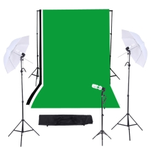Photography/Video Studio Triple Lighting Kit with 10ft * 12ft Black White Green Muslins Backdrops Background Support System with Case