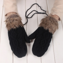 Fashion Winter Women Gloves Mitten Thick Warm Knitted Faux Fur Christmas Cute Black