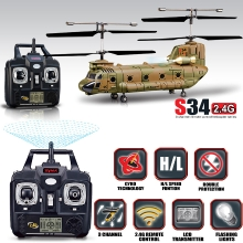 Syma S34 RC Helicopter 3.5CH 2.4Ghz LCD Display with Gyro EU Plug Army Green