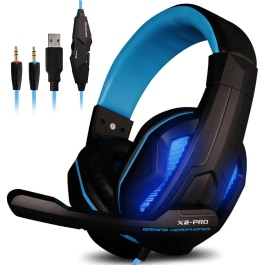Ovann X2 Pro Professional Esport Gaming Stereo Bass Headset Headphone Earphone Over Ear 3.5mm + USB Wired with Microphone LED Light for PC Computer Laptop