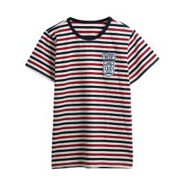 New Fashion Boys Kids Tops Stripe Print Round Neck Short Sleeve Cute Casual Children Shirt Red