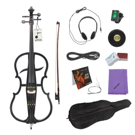 ammoon 4/4 Solid Wood Electric Cello Violoncello Ebony Fittings in Style 1 with Tuner Headphone Gig Bag