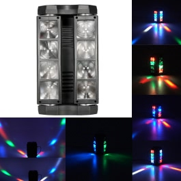 LIXADA 80W RGBW Color Changing DMX512 Sound Activated Auto Running 13 / 19 Channels Head Moving Rotatable LED Mini Spider Stage Beam Light Effect Lamp for Disco KTV Club Party