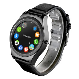 Q2 Smart Watch MTK2502C 64MB RAM 128MB ROM 1.28inch Screen Bluetooth 4.0 Genuine Leather for iPhone IOS 7.0 Android 4.4 Bluetooth 4.0 Above   Smartphone Call Reminder Pedometer Sleep Monitor Heart Rate Monitor
