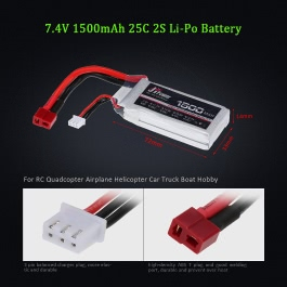 JHpower 7.4V 1500mAh 25C 2S Li-Po Battery with T Plug for RC Drone Airplane Car Truck