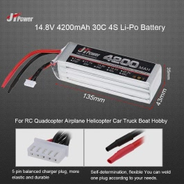 JHpower 14.8V 4200mAh 30C 4S Li-Po Battery for RC Drone Car Boat Truck