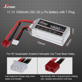 JHpower 11.1V 1300mAh 25C 3S Li-Po Battery with T Plug for RC Drone Airplane Car Truck