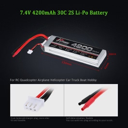 JHpower 7.4V 4200mAh 30C 2S Li-Po Battery for RC Helicopter Airplane Car Boat Truck