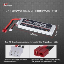 JHpower 7.4V 3500mAh 35C 2S Li-Po Battery with T Plug for RC Drone Airplane Car Truck