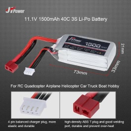 JHpower 11.1V 1500mAh 40C 3S Li-Po Battery with T Plug for RC Drone Airplane Car Truck