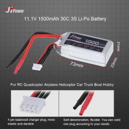 JHpower 11.1V 1500mAh 30C 3S Li-Po Battery for RC Drone Airplane Car Truck