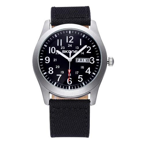 Buy SKONE Classic Canvas PU Strap Watches Men Date Waterproof Casual Army Military Watch Analog Quartz Wristwatches Week