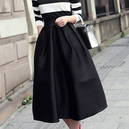 Buy Stylish Fashion Women's Vintage Style A-line Pleated Flare Puff Skirt Solid Casual Plain Midi