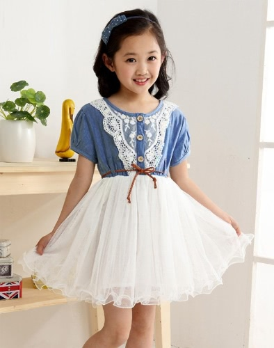 Buy Summer Girls Kids Baby Lace Belt Denim Tulle Princess Dress Party 0-4Y
