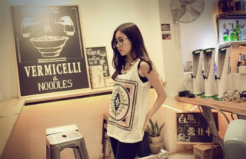 Buy Round-neck Sleeveless Totem Pattern Blouse T-shirt Tank Tops Girl Cute Tees